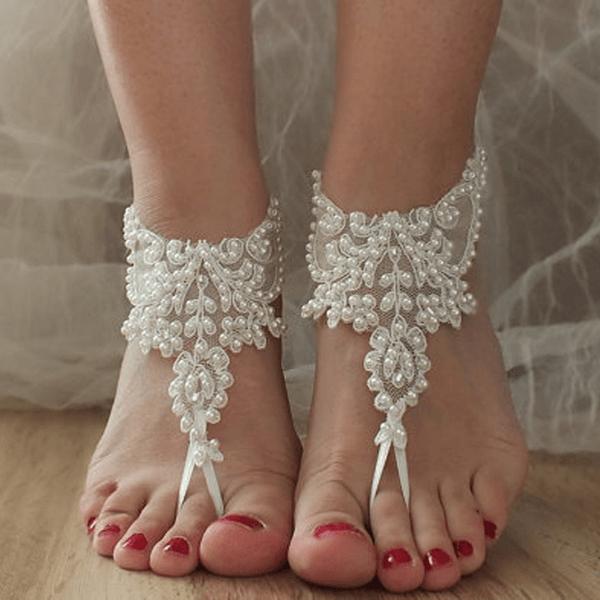 Barefoot de bordada para Casório na praia